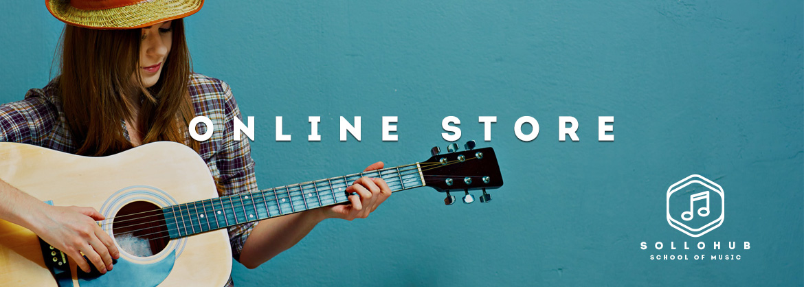 online store withhomepage image with Logo with girl playing guitar